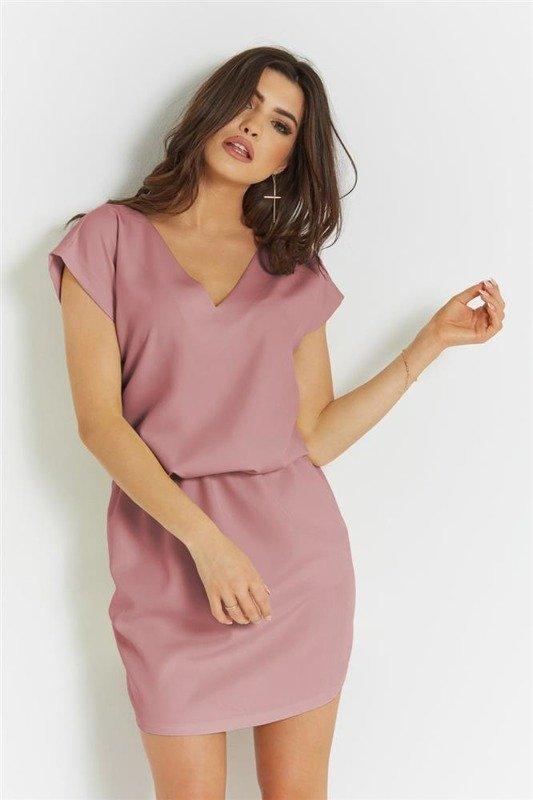 lena różowa mini sukienka boho rozkloszowana bez pleców do pracy