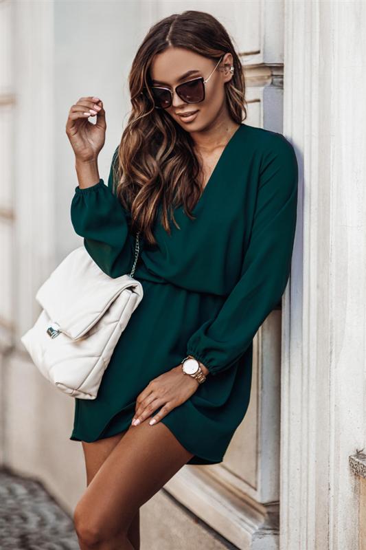 malvina zielona mini sukienka rozkloszowana do pracy boho