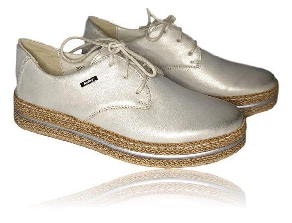 Buty skórzane damskie na platformie- złote