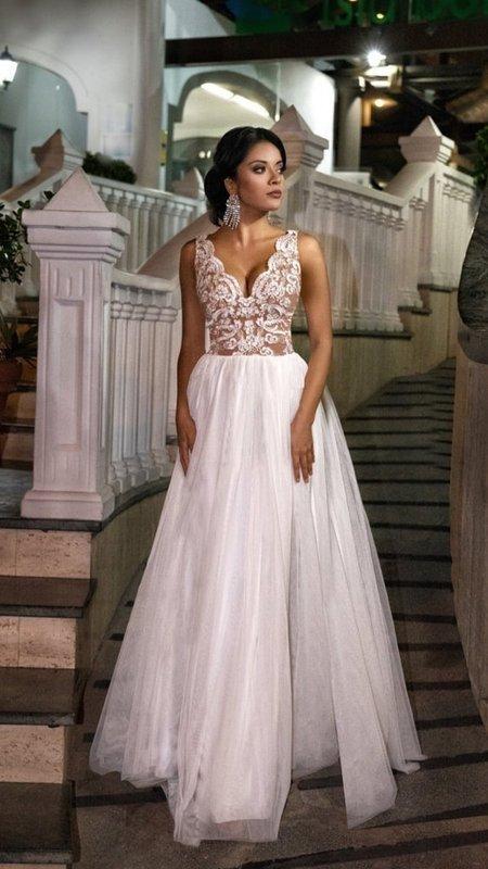 CHIARA - długa suknia wieczorowa-biało-beżowy