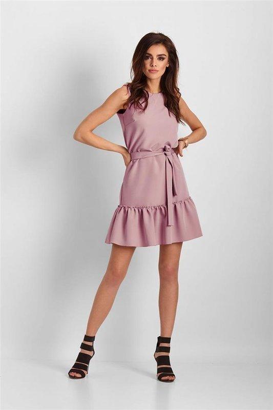 Elegancka  lorena bez rękawów krótka różowa sukienka na imprezę