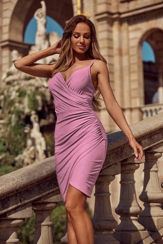 Krótka Sukienka Bella z brokatem- różowy