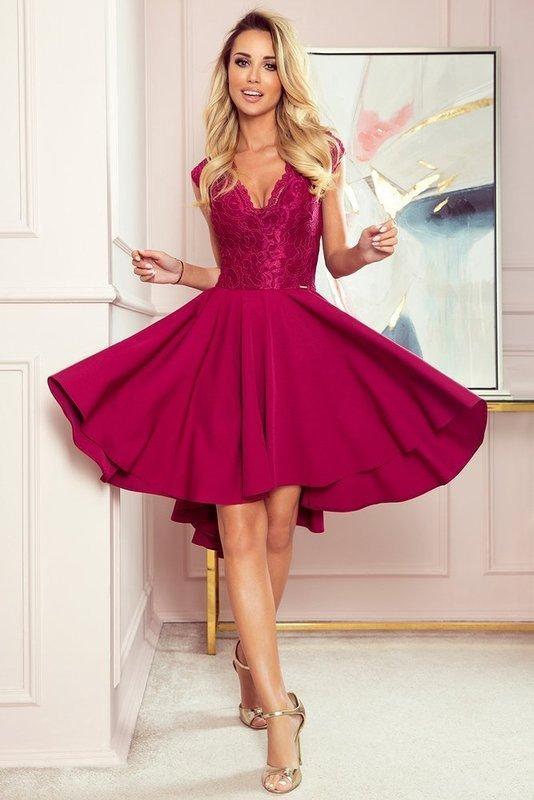 PATRICIA - sukienka z dłuższym tyłem -bordowy