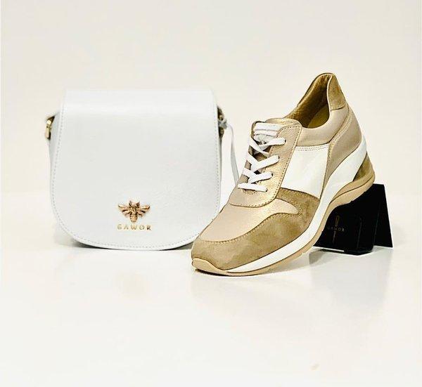 Skórzane sportowe buty damskie beżowo-białe