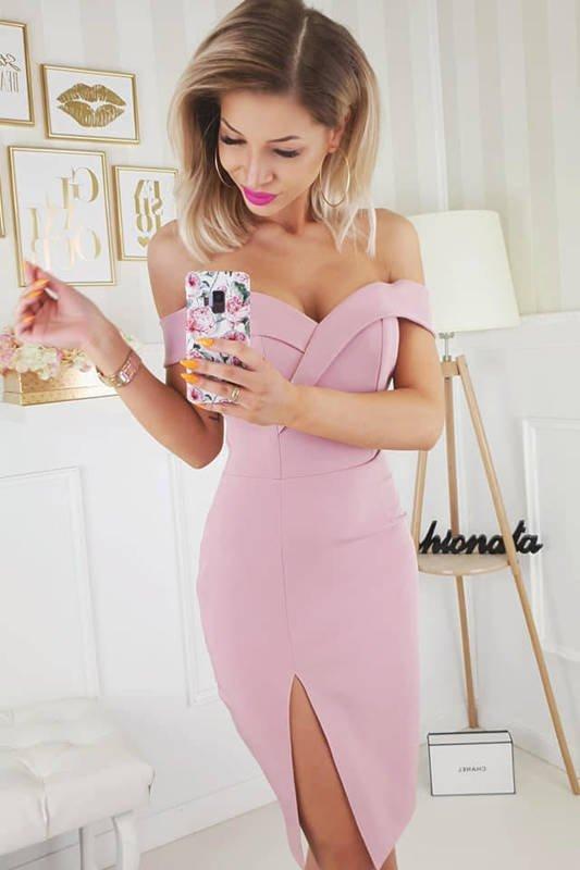 Sukienka Kessy mini bez ramiączek-puder
