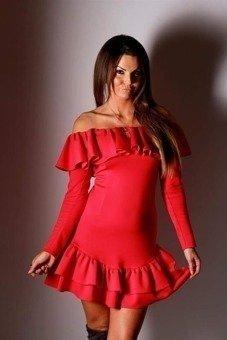Sukienka hiszpanka z dwuwarstwową falbaną u dołu