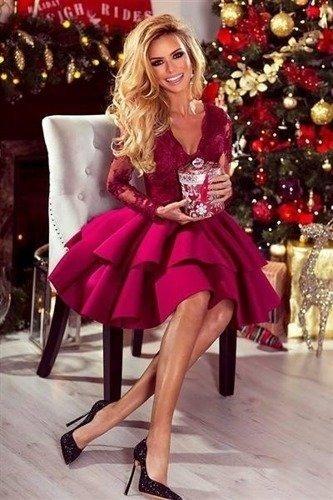 Sukienka koronkowa LILI z podwójną falbanką - wiśniowy