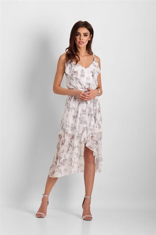 Szyfonowa asymetryczna  chantal midi biała sukienka z falbanką
