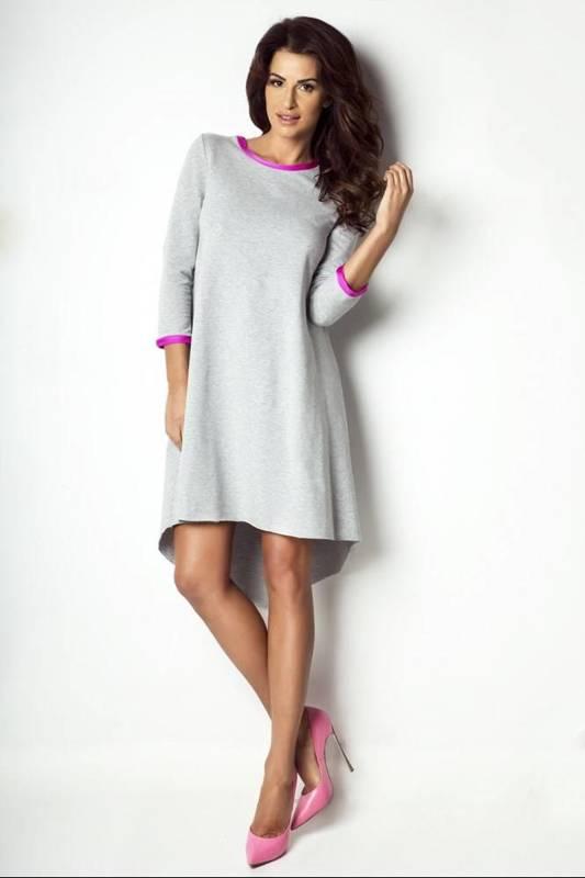 asymetryczna midi szara sukienka rozkloszowana na co dzień