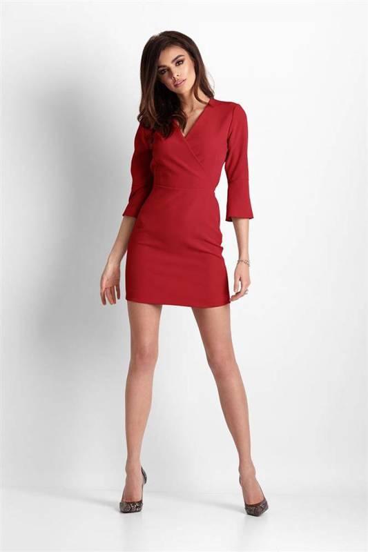 blanche czerwona klasyczna mini sukienka ołówkowa