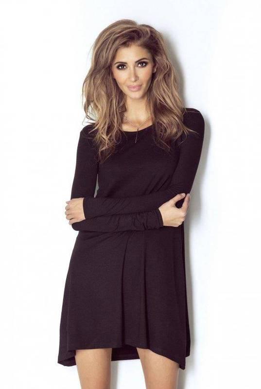 celine czarna   sukienka  rozkloszowana  do pracy  z długim rękawem