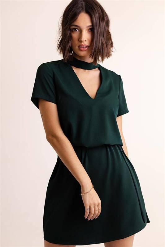 francesca z chokerem krótka elegancka zielona sukienka do pracy