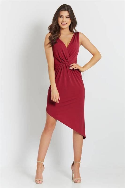 gaja krótka klasyczna czerwona sukienka ołówkowa na studniówkę