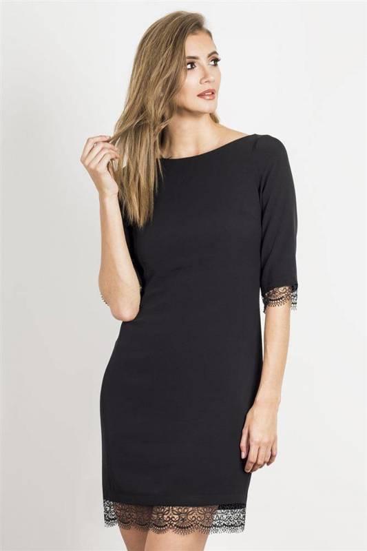 hilary mała czarna klasyczna sukienka koronkowa