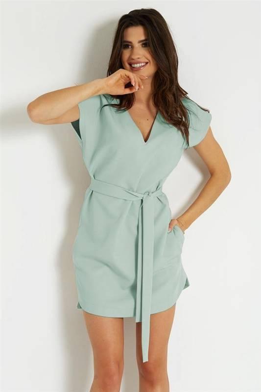 kara miętowa klasyczna mini sukienka rozkloszowana do pracy