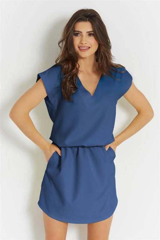 lena krótka niebieska sukienka boho rozkloszowana do pracy