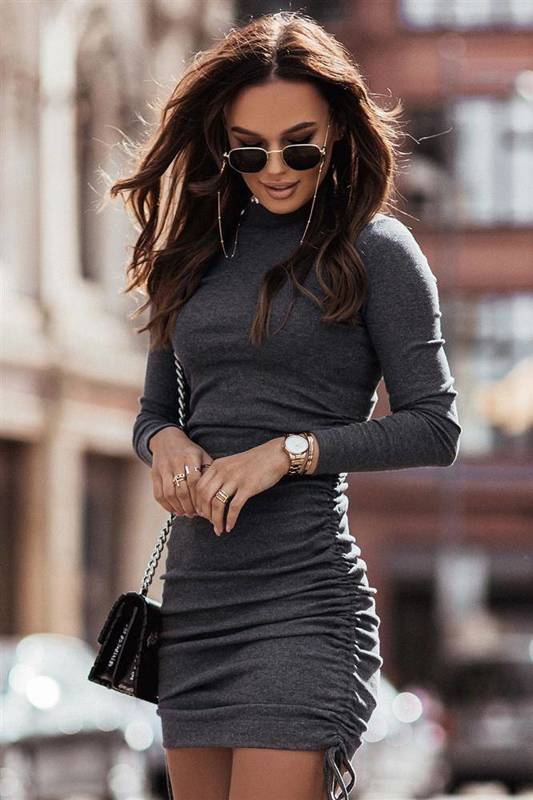 nastia krótka elegancka antracytowy sukienka ołówkowa do pracy