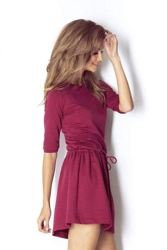 nathalie krótka bordowa sukienka dresowa rozkloszowana na co dzień