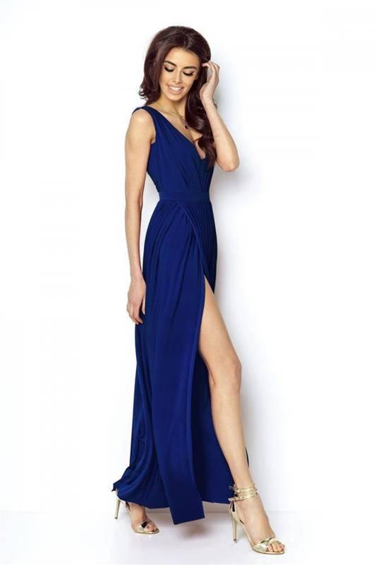 rebeca maxi wieczorowa niebieska sukienka rozkloszowana na karnawał
