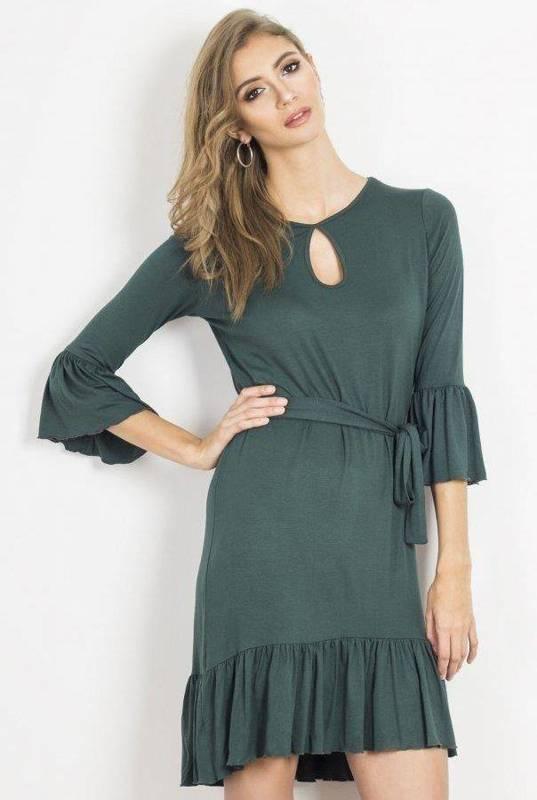 shira zielona mini sukienka rozkloszowana z falbaną do pracy