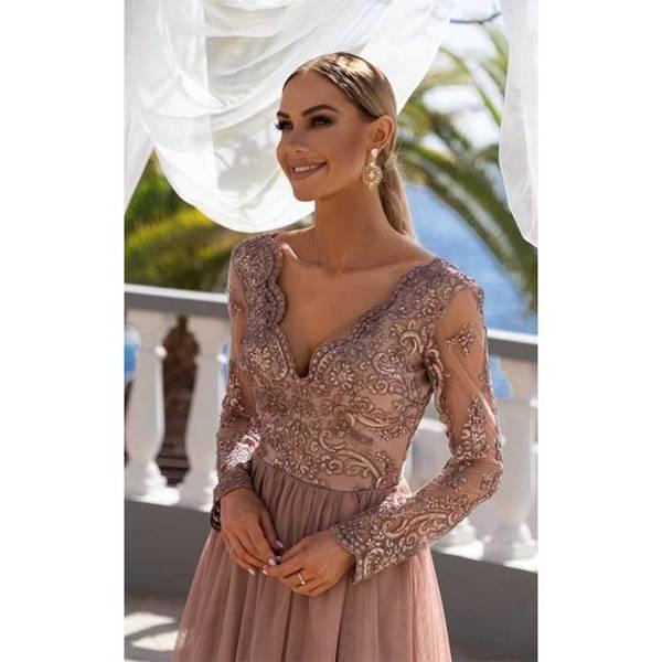 ADEL - długa suknia wieczorowa-capucinno