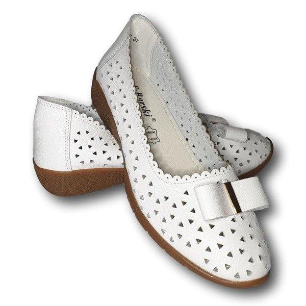 Białe skórzane półbuty damskie Buty na koturnie