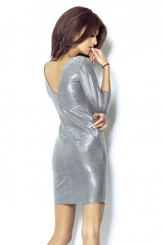 Błyszcząca  cleo srebrna elegancka mini sukienka na sylwestra