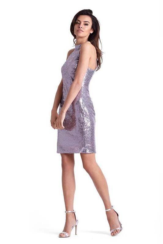 Cekinowa  rihanna krótka różowa sukienka ze stójką na karnawał