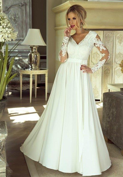 Długa sukienka Luna na ślub cywilny  - Biały