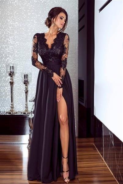 Długa sukienka na wesele koronkowa rozkloszowana czarna luna