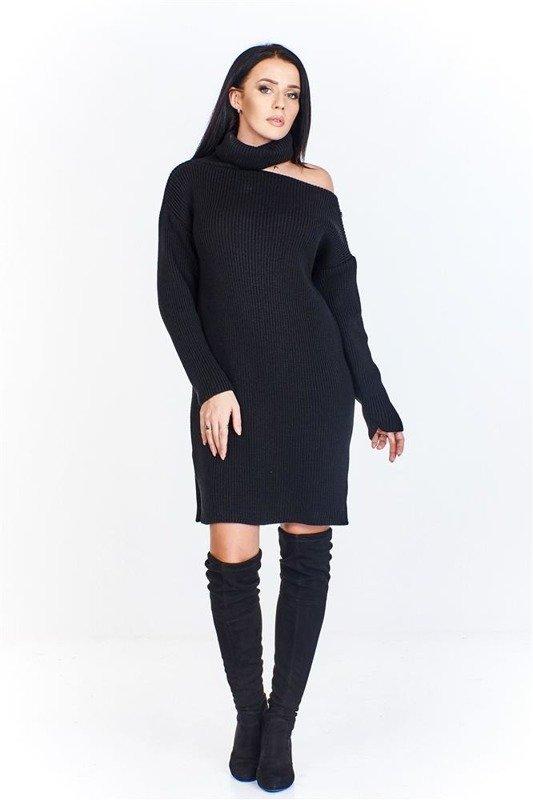 Długi sweter o kroju sukienki z golfem i wycięciem na jednym ramieniu