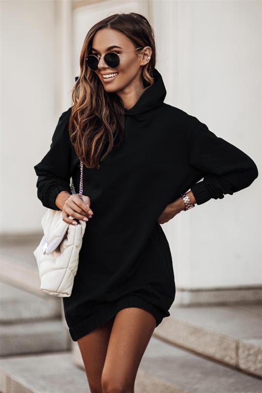 Dresowa  vera czarna sukienka z długim rękawem na co dzień