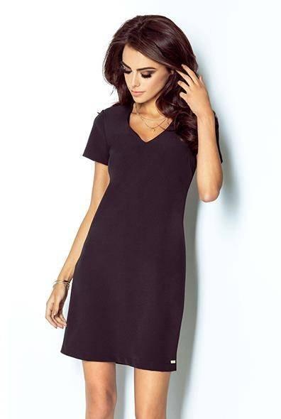 Elegancka  matilda mała czarna wizytowa sukienka rozkloszowana