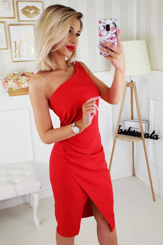 Krótka Sukienka na jedno ramię z rozcięciem- czerwony
