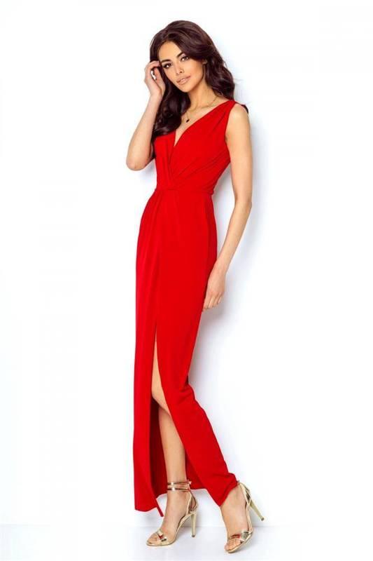 Maxi  dalia z rozcięciem długa wieczorowa czerwona sukienka