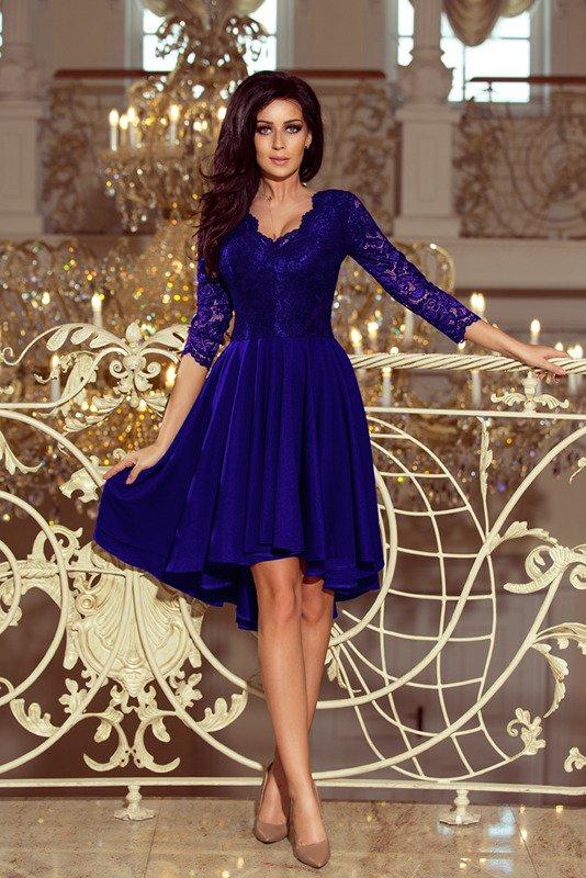 NICOLLE - sukienka z dłuższym tyłem - chaber