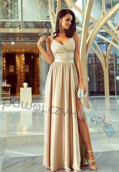 Sukienka Bella koronkowa - beżowa
