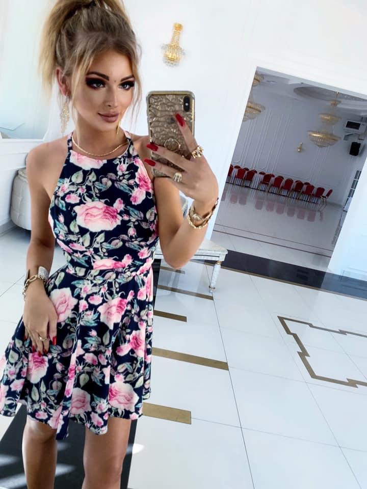 Sukienka LANCIANO- granatowy-kwiaty