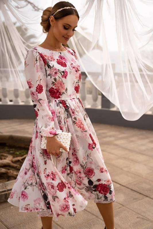 Sukienka MADLEN - biała w kwiaty