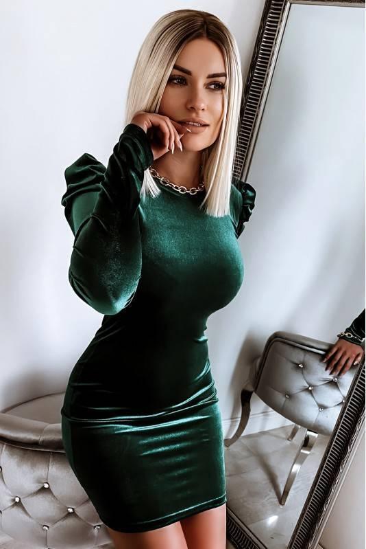 Sukienka Świąteczna Bufki Emerald