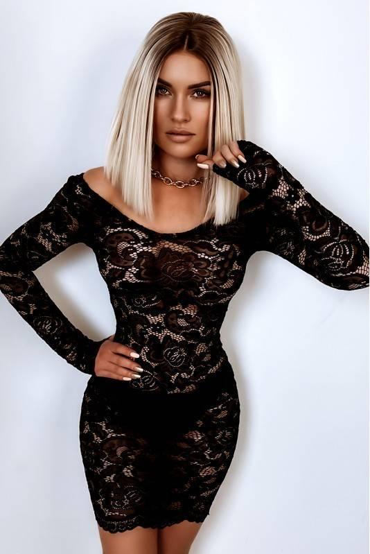 Sukienka halka koronkowa- czarny