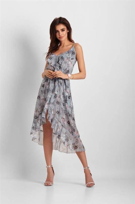 Szyfonowa asymetryczna  chantal midi niebieska sukienka na imprezę