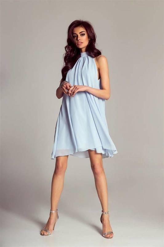 Szyfonowa  livia krótka   sukienka  rozkloszowana    pastelowa