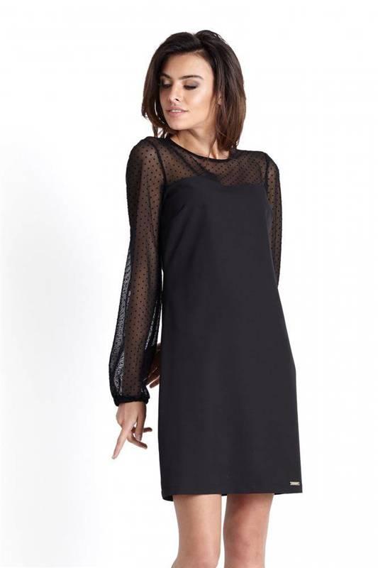 Trapezowa  daniela mała czarna wizytowa sukienka w grochy