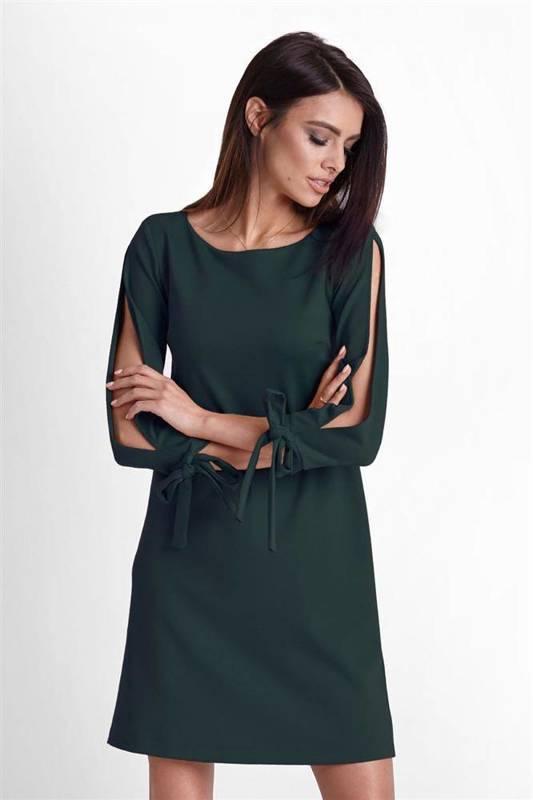 Trapezowa  diva krótka elegancka zielona sukienka rozkloszowana