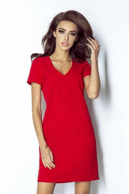 Trapezowa  matilda krótka wizytowa czerwona sukienka