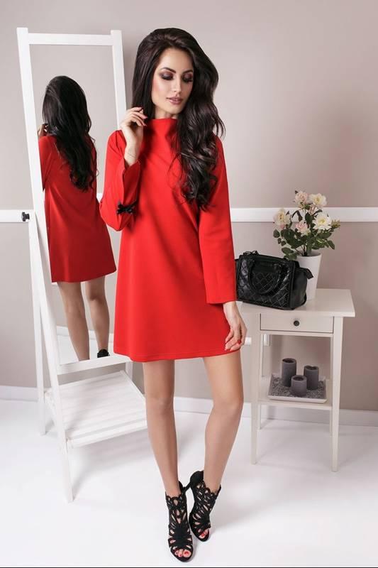 Trapezowa  natalie krótka elegancka czerwona sukienka rozkloszowana