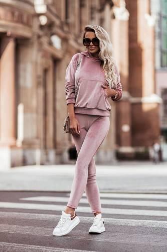 Welurowy komplet : spodnie + wygodna bluza- rose