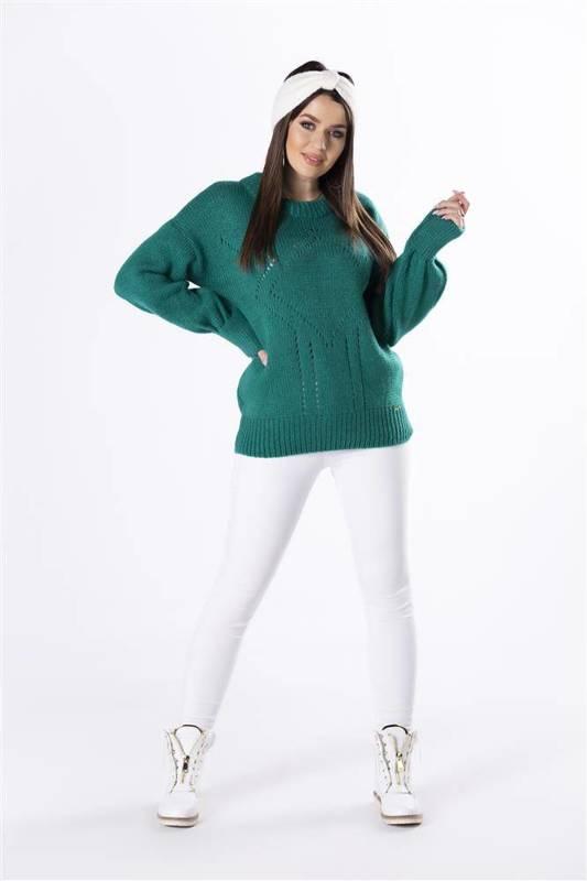 sweter z ażurowymi przeszyciami i bufiastymi rękawami